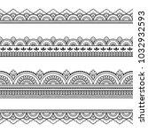 set of seamless borders for... | Shutterstock .eps vector #1032932593