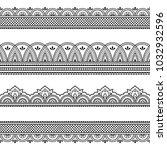set of seamless borders for... | Shutterstock .eps vector #1032932596