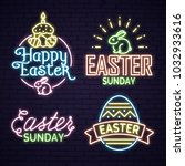 neon egg with easter lettering | Shutterstock .eps vector #1032933616