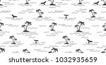 shark dolphin whale seamless... | Shutterstock .eps vector #1032935659