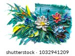 oil painting a bouquet of... | Shutterstock . vector #1032941209