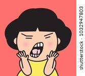 closeup portrait angry grumpy... | Shutterstock .eps vector #1032947803