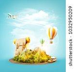 unusual 3d illustration of a... | Shutterstock . vector #1032950209