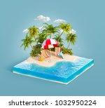 deck chairs under the beach... | Shutterstock . vector #1032950224