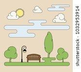 spring city park landscape with ... | Shutterstock .eps vector #1032953914