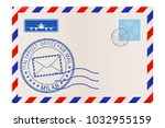 envelope with milan stamp.... | Shutterstock . vector #1032955159