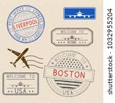postmarks and tourist stamps on ... | Shutterstock . vector #1032955204