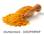 turmeric powder in the wooden... | Shutterstock . vector #1032958969