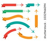 flying plane with banner  icons ... | Shutterstock .eps vector #1032966094
