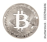 studio shot of a bitcoin... | Shutterstock . vector #1032966646