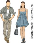 vector sketch of fashionable... | Shutterstock .eps vector #103296878