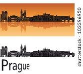 Prague Skyline In Orange...