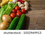 fresh mixed vegetables on... | Shutterstock . vector #1032969913