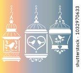 bird cage stencil | Shutterstock .eps vector #1032970633
