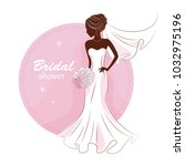 bridal shower invitation. young ... | Shutterstock .eps vector #1032975196