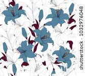 beautiful outline floral... | Shutterstock .eps vector #1032976048