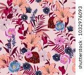 beautiful summer garden  floral ... | Shutterstock .eps vector #1032976093