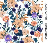 trendy  floral pattern in the... | Shutterstock .eps vector #1032976099