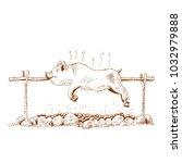 pig on the spit  vector... | Shutterstock .eps vector #1032979888