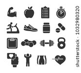 vector image set of fitness... | Shutterstock .eps vector #1032980320