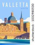 vector art deco retro poster....   Shutterstock .eps vector #1032980530