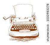 retro typewriter   vector... | Shutterstock .eps vector #1032983278