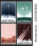 space poster set. stylization... | Shutterstock .eps vector #1032983800