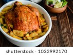 roasted whole chicken with... | Shutterstock . vector #1032992170