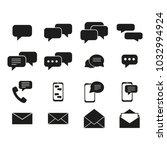 set of message communication... | Shutterstock .eps vector #1032994924