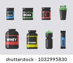 sport and fitness nutrition set.... | Shutterstock .eps vector #1032995830
