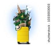 Yellow Travel Bag World Landmark - Fine Art prints