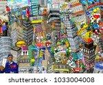 graffiti  city  an illustration ... | Shutterstock . vector #1033004008