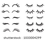 vector cartoon eyelashes set... | Shutterstock .eps vector #1033004299