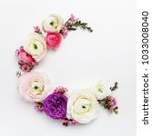 floral round frame with... | Shutterstock . vector #1033008040