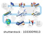 logistics cargo vehicle freight.... | Shutterstock .eps vector #1033009813