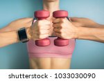 fitness and technology concept. ... | Shutterstock . vector #1033030090