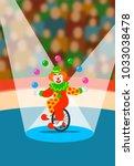 cute clown juggling balls on... | Shutterstock . vector #1033038478