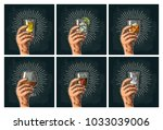 male hand holding glass with... | Shutterstock .eps vector #1033039006