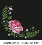 flowers roses isolated on black ... | Shutterstock .eps vector #1033051120