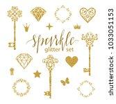 set collection of golden... | Shutterstock .eps vector #1033051153