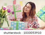 attractive woman with easter... | Shutterstock . vector #1033053910