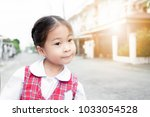 cute asian little girl in... | Shutterstock . vector #1033054528