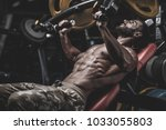 handsome young fit muscular... | Shutterstock . vector #1033055803