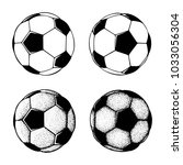 hand drawn soccer ball... | Shutterstock .eps vector #1033056304