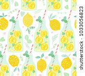 lemonade seamless pattern.... | Shutterstock .eps vector #1033056823