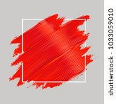 red oil paint brushstrokes and... | Shutterstock .eps vector #1033059010