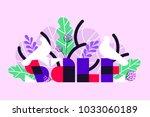 sale banner with white birds... | Shutterstock .eps vector #1033060189