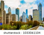 chicago downtown skyline in the ... | Shutterstock . vector #1033061104