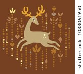 vector hand dravn flat deer on... | Shutterstock .eps vector #1033061950