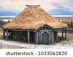 traditional viking turf roof... | Shutterstock . vector #1033062820